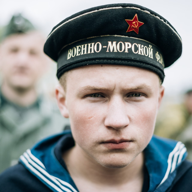 """Unidentified re-enactor dressed as Soviet sailor during events dedicated to..."" stock image"
