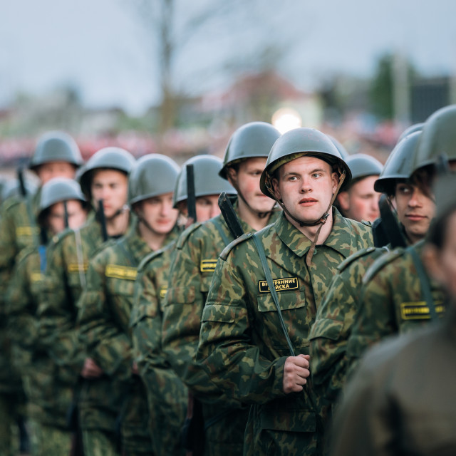 """""""Parade of unidentified re-enactors dressed as Soviet soldiers during events..."""" stock image"""