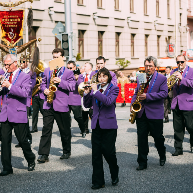 """""""People participating in the parade dedicated to the Victory Day - the 70th..."""" stock image"""