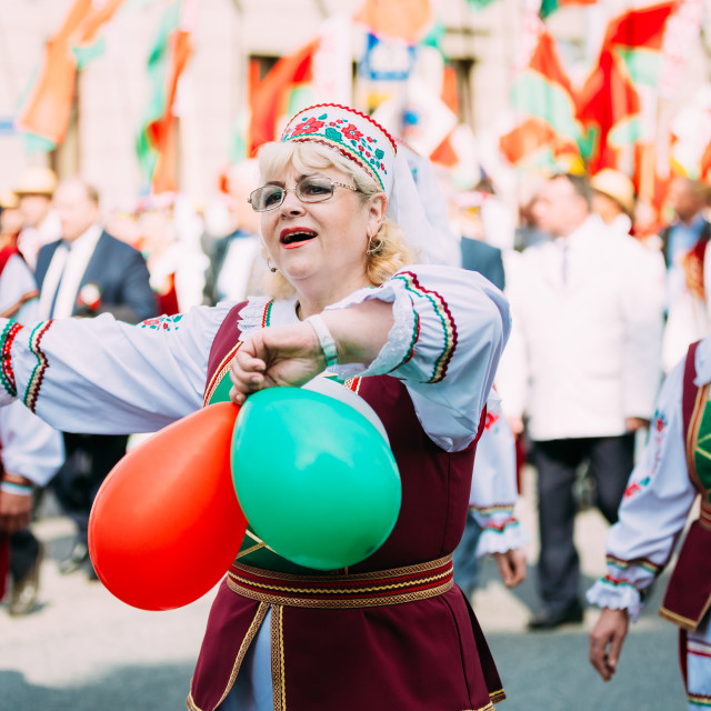 """""""Women in national Belarusian folk costume participating in the parade in..."""" stock image"""