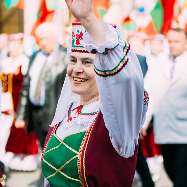 """""""Woman in national Belarusian folk costume participating in the parade in..."""" stock image"""