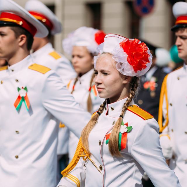 """""""People participating in the parade dedicated to the Victory Day in Gomel,..."""" stock image"""