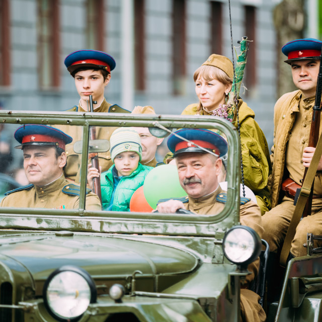 """""""People uniformed Soviet soldiers and officers involved in the parade..."""" stock image"""