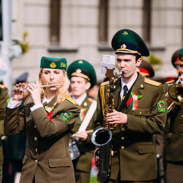 """""""Orchestra of the Border Troops participating in the parade dedicated to the..."""" stock image"""