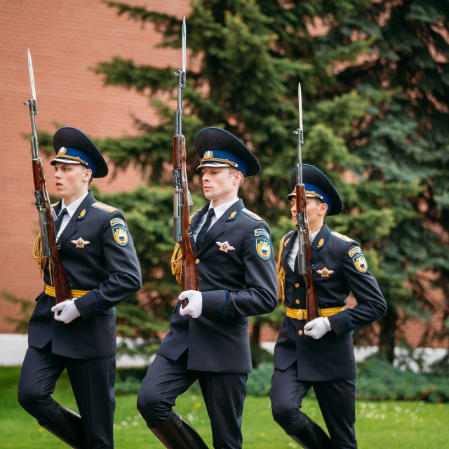 """""""Post honor guard at the Eternal Flame in Moscow at the Tomb of the Unknown..."""" stock image"""