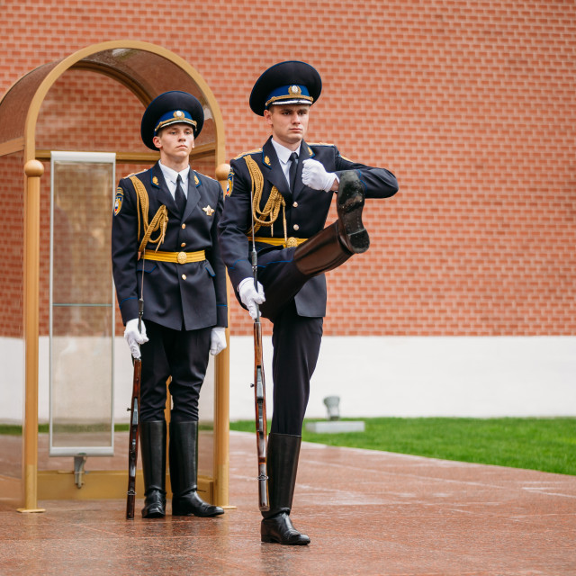 """""""Post honor guard at the Eternal Flame in Moscow, Russia"""" stock image"""