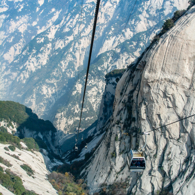 """Cable Cars taking visitors to and from the summit of the sacred"" stock image"