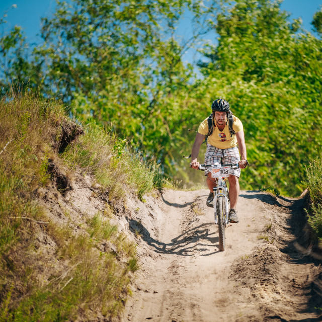 """Mountain Bike cyclist riding track at sunny day, healthy lifestyle active..."" stock image"