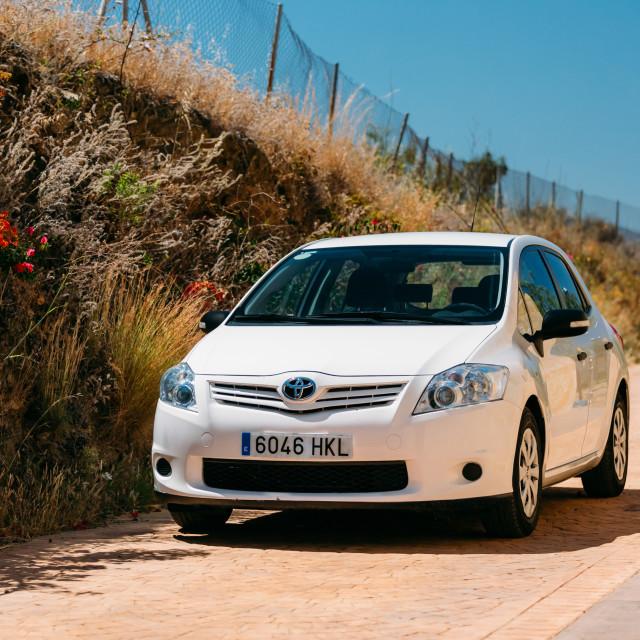 """""""Toyota Auris car on Spain nature landscape"""" stock image"""