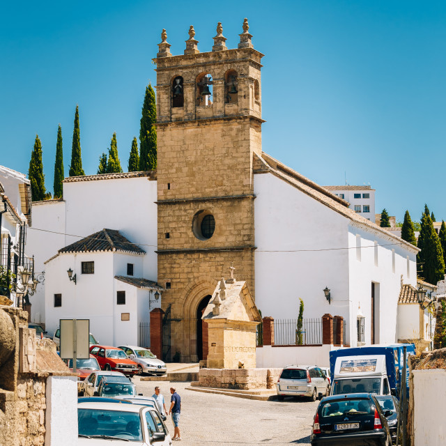 """""""Typical white street in Ronda, Malaga, Spain. Andalusian narrow street with..."""" stock image"""