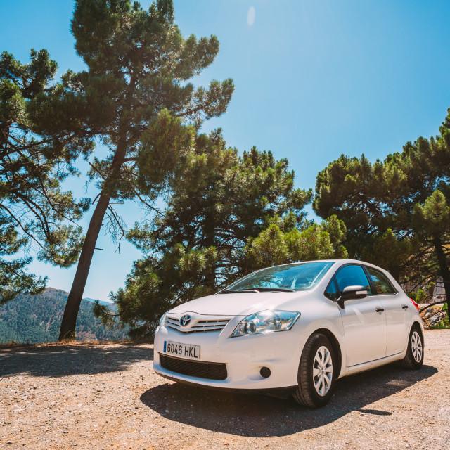 """White color Toyota Auris car on Spain nature landscape"" stock image"