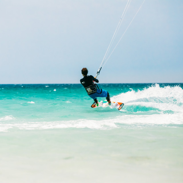 """""""Kite surfing in Tarifa, Spain. Tarifa is most popular places in Spain for..."""" stock image"""