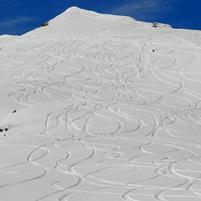 """ski tracks on mountainside"" stock image"