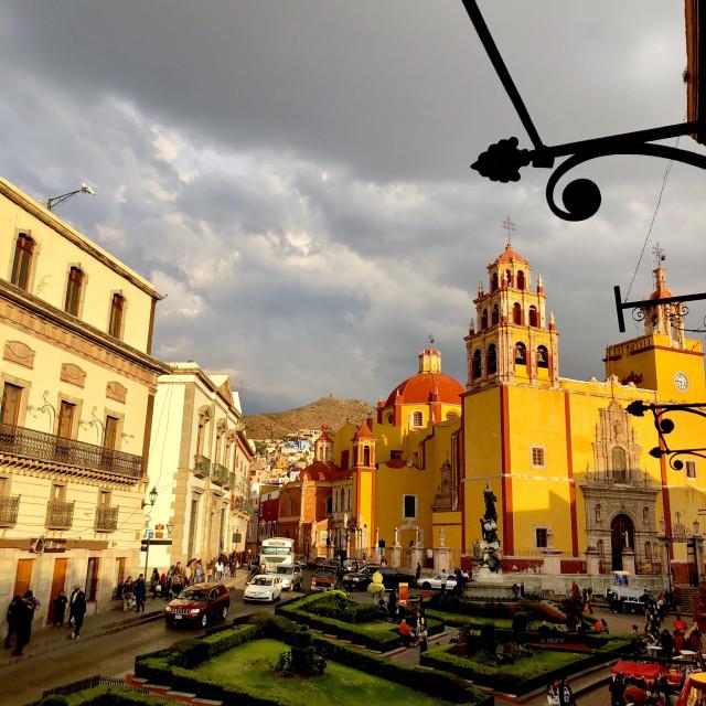 """Sunset over Plaza de la Paz"" stock image"
