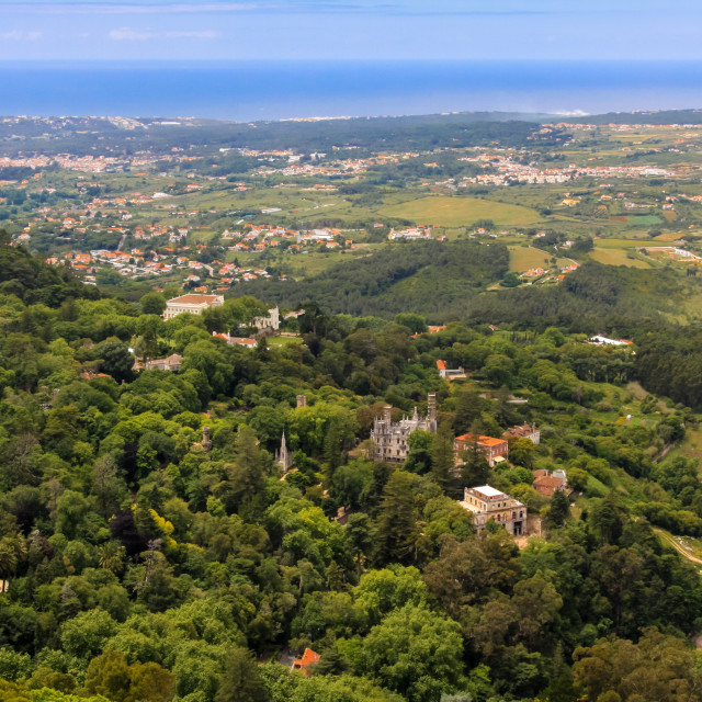 """""""View overlooking the Sintra hills towards the coast of Portugal"""" stock image"""