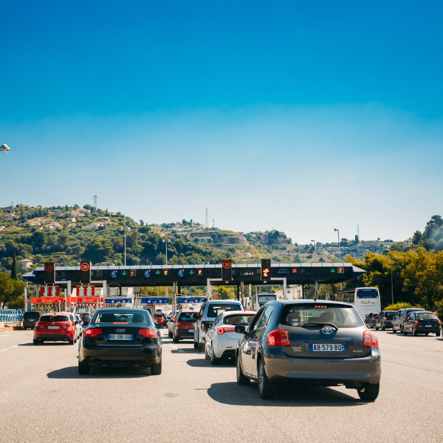"""""""Cars passing through the point of toll highway, toll station."""" stock image"""