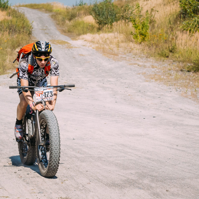 """""""Mountain Bike cyclist riding track at sunny day, healthy lifestyle active..."""" stock image"""
