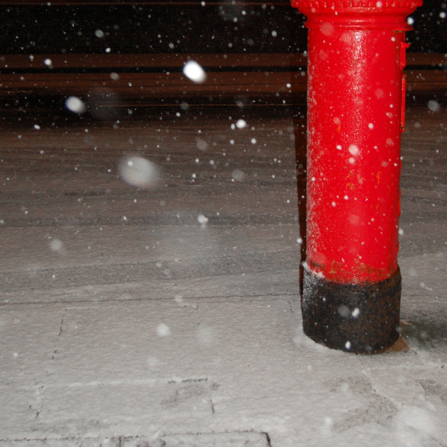 """Snowy Postbox"" stock image"