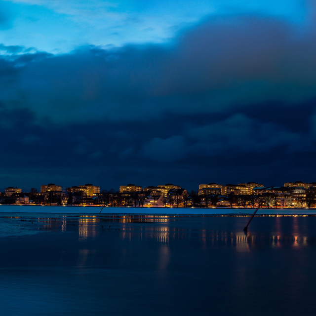 """Nightfall in Motala bay"" stock image"