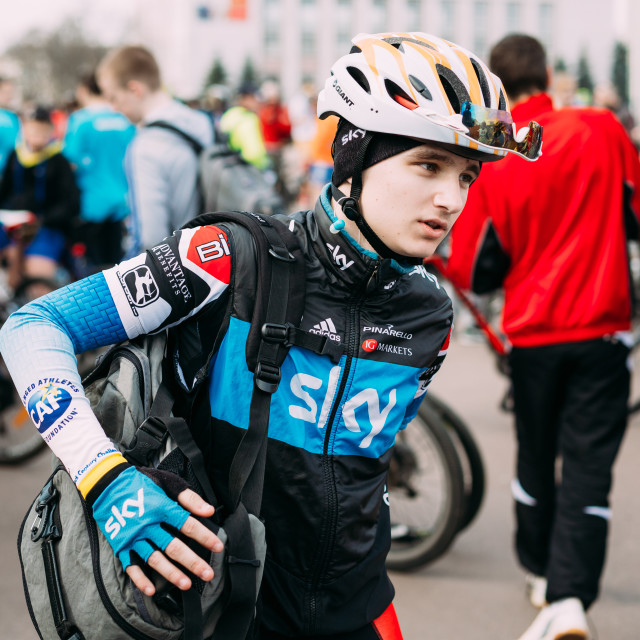 """Young caucasian man bicyclist in sportswear for cycling in Gomel, Belarus"" stock image"