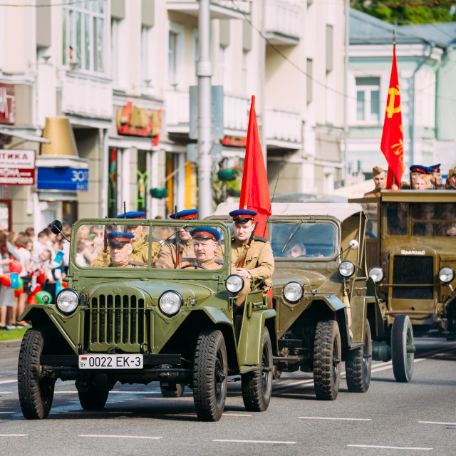 """""""Parade Soviet Military Cars WW2 Time, People Soldiers Uniform. Celebrate..."""" stock image"""