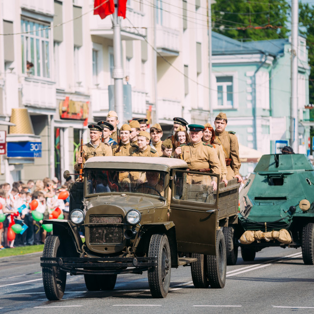 """""""Truck ZIS-5V Foreground Of Parade Soviet WW2 Time Cars. Celebrating Victory..."""" stock image"""