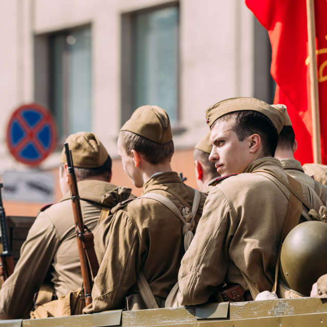 """""""Side View Men In Disguise Soviet Soldiers WW2 Time. Victory Day 9 May Parade..."""" stock image"""