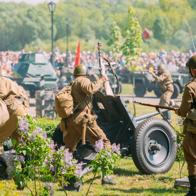 """Gomel Belarus. Back View, Reenactors Soldiers Of Soviet Army With Guns..."" stock image"