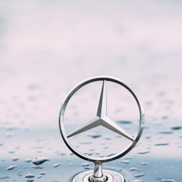 """Close View Of Metal Star Logo Of Mercedes Benz At Wet Hood Of Blue Car After..."" stock image"