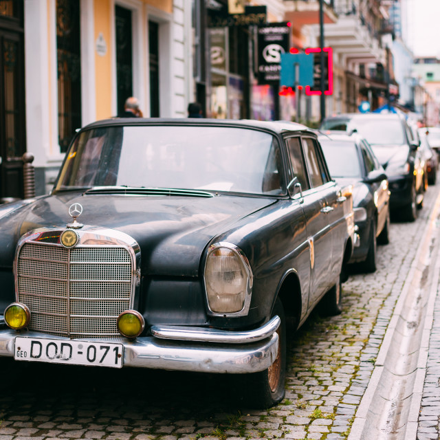 """Batumi Georgia. Black Rarity Retro Mercedes Benz Car Parked On Narrow Paved..."" stock image"