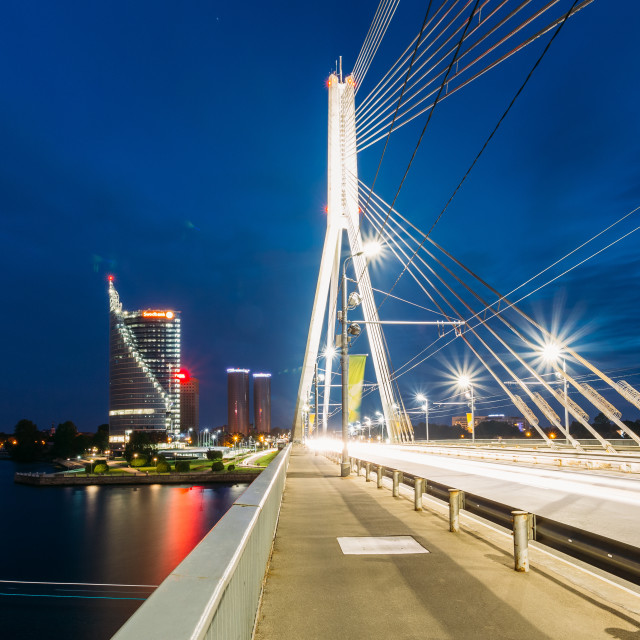 """Riga Latvia. Close Vansu Cable-Stayed Bridge In Bright Night Illumination,..."" stock image"