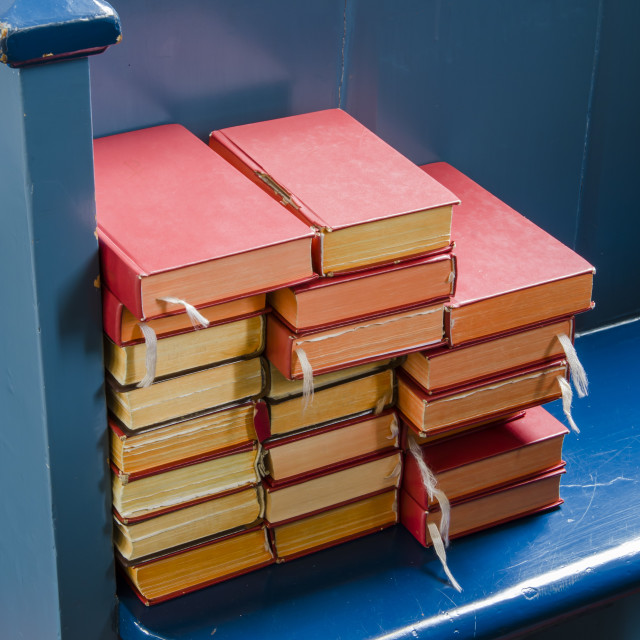 """""""Bibles on a blue pew"""" stock image"""