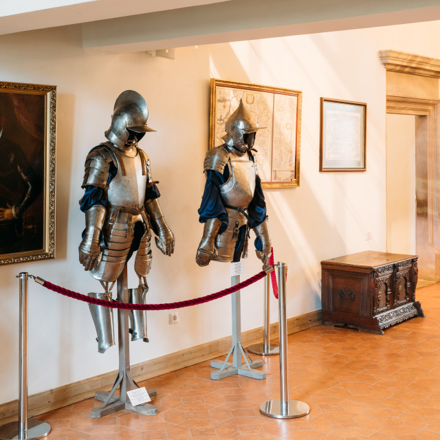 """""""Mir, Belarus. Armor of the knights warriors In Armored Room In Mir Complex...."""" stock image"""