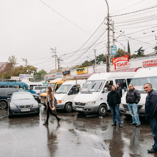 """Tbilisi, Georgia. Drivers Waiting For Passengers Near Their Urban Taxis..."" stock image"