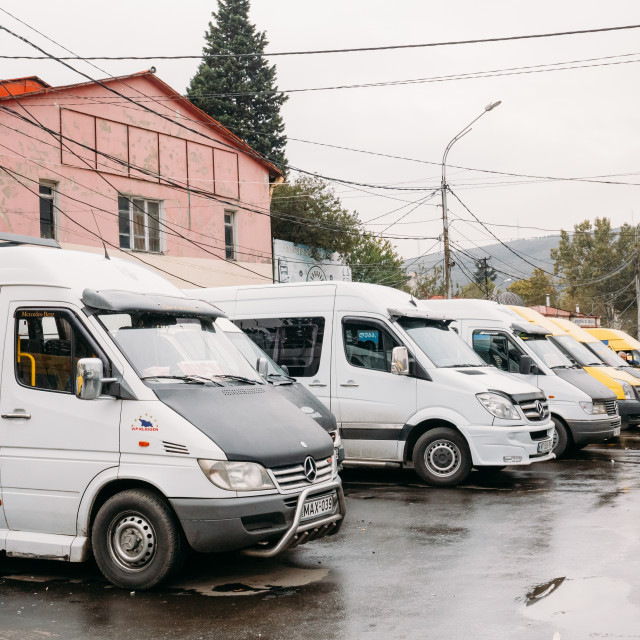 """Urban taxis Minibuses are on the station Didube in Tbilisi, Georgia."" stock image"