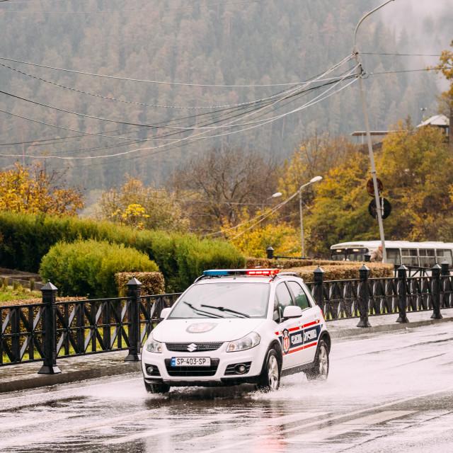 """Borjomi, Samtskhe-Javakheti, Georgia. Road Police Suzuki Car In Town Street..."" stock image"