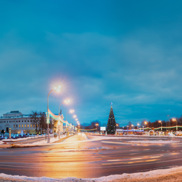 """Gomel, Belarus. Panorama With Main Christmas Tree And Festive Illumination On..."" stock image"