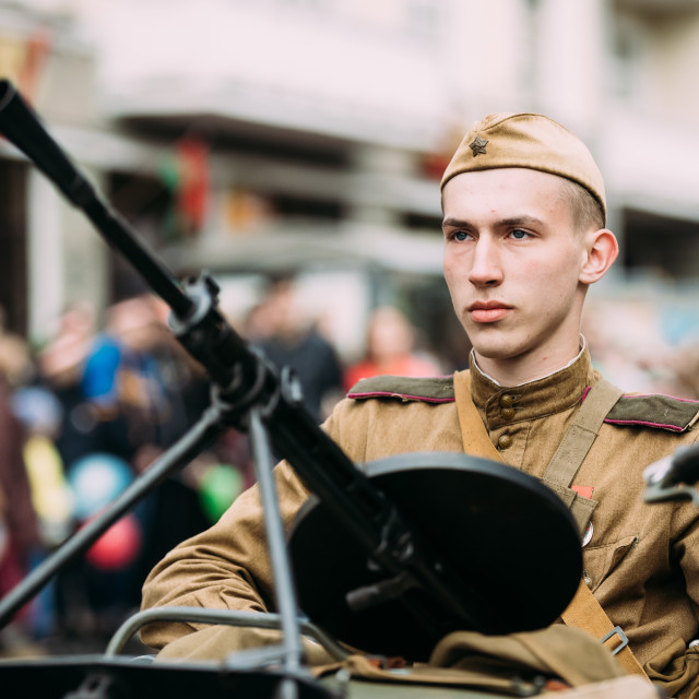 """""""Gomel, Belarus. Parade Of Russian Soviet Military Warfare Of WW2 Time With..."""" stock image"""