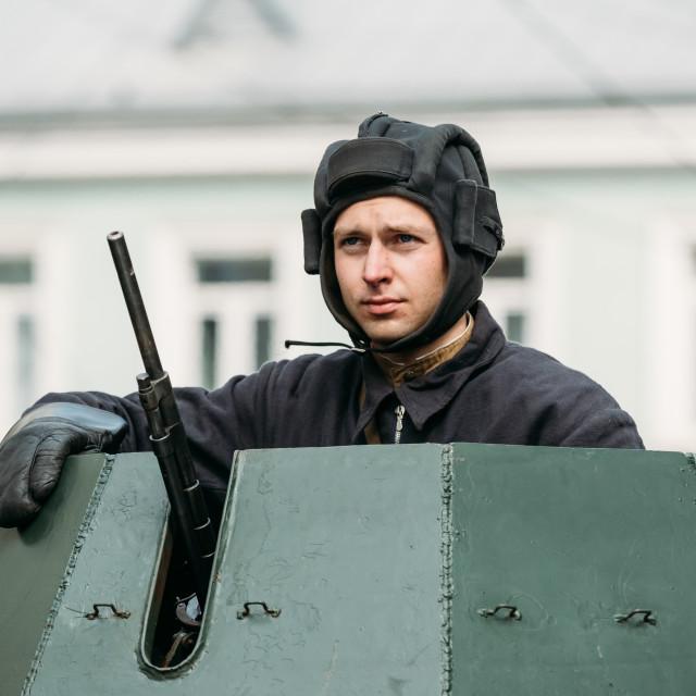 """Gomel, Belarus. Re-enactor Dressed As Russian Soviet Crew Member Of World War..."" stock image"