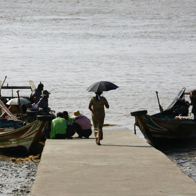 """Rangoon River Deck, Myanmar"" stock image"