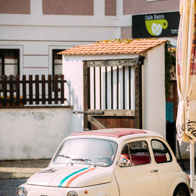 """View Of Old Retro Vintage White Color Fiat Nuova 500 Car Parking At Street"" stock image"