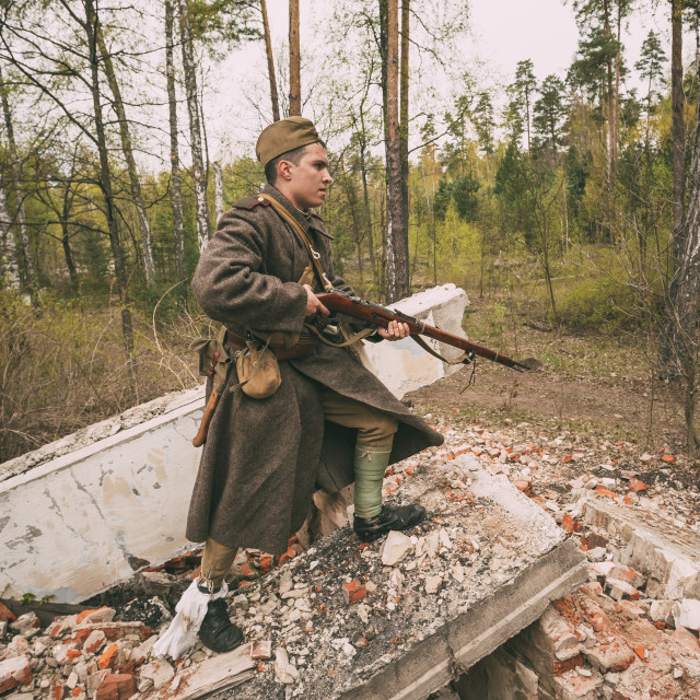 """""""Re-enactor Dressed As Soviet Russian Red Army Infantry Soldier Of World War..."""" stock image"""