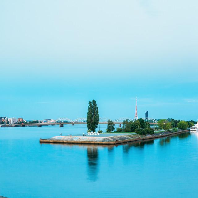 """Riga, Latvia. Panoramic View Of Daugava Or Western Dvina River With Famous..."" stock image"