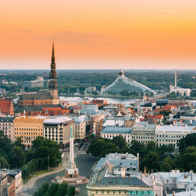 """""""Riga, Latvia. Cityscape. Top View Of St. Peter's Church, Boulevard Of..."""" stock image"""