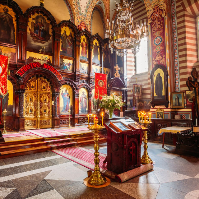 """Vilnius Lithuania. Iconostasis Of Christian Orthodox Church Of Saint..."" stock image"
