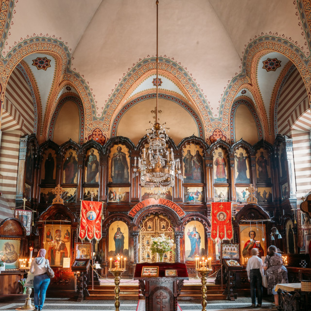 """Vilnius Lithuania. Iconostasis, Church Interior Of Orthodox Church Of St...."" stock image"