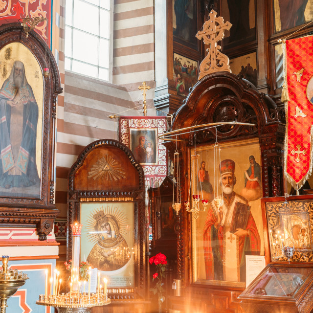 """Vilnius, Lithuania. Close The Left Side Of Iconostasis In Christian Orthodox..."" stock image"