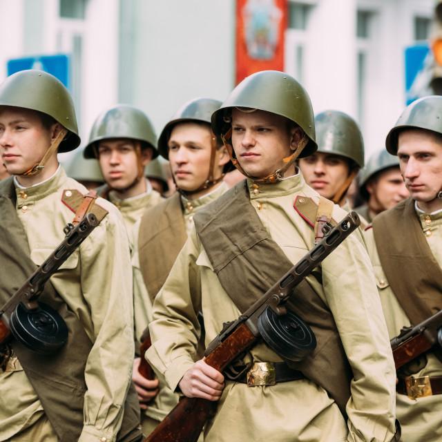 """Gomel, Belarus. Re-enactos Dressed As Russian Soviet Soldiers Of World War..."" stock image"