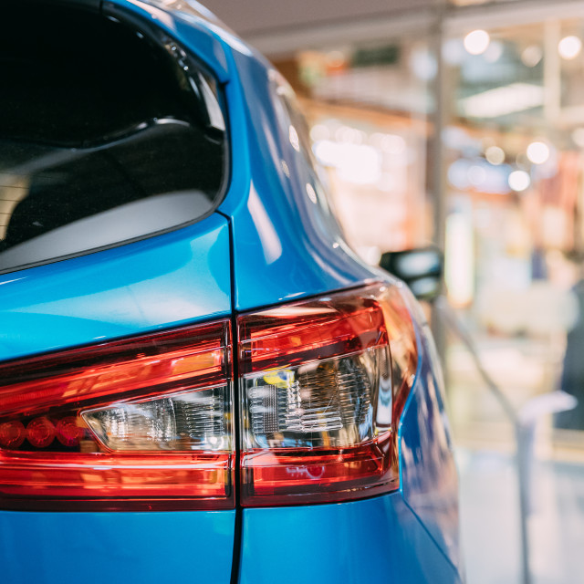 """""""Red LED Rear Lights Of Blue color compact crossover SUV Car Nissan Qashqai In..."""" stock image"""