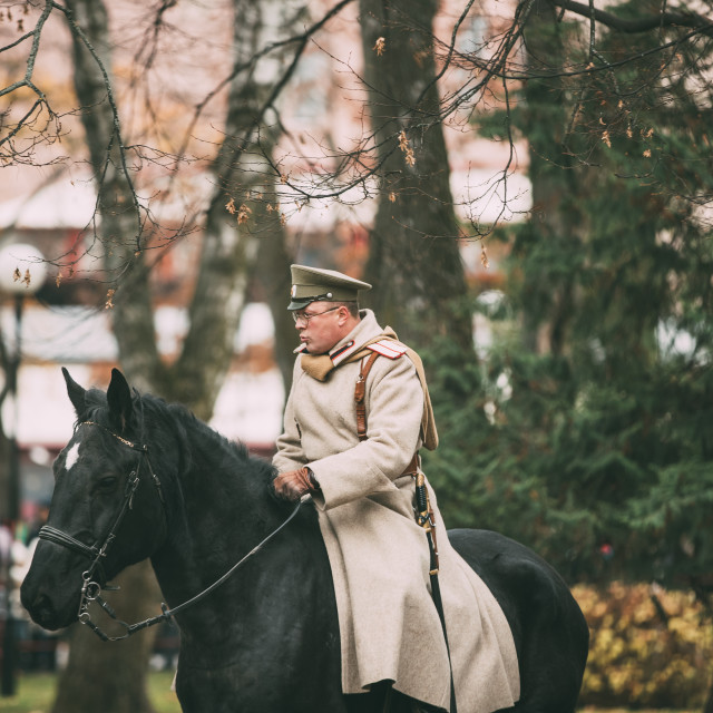 """Gomel, Belarus. Celebration For The Century Of October Revolution. Reenactor..."" stock image"